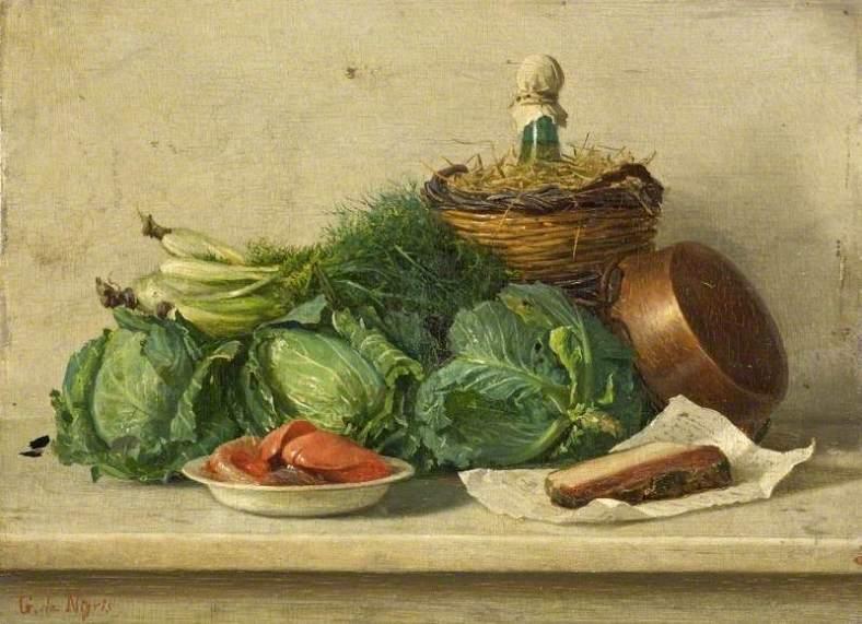 de Nigris, Giuseppe, 1832-1903; Still Life of Vegetables